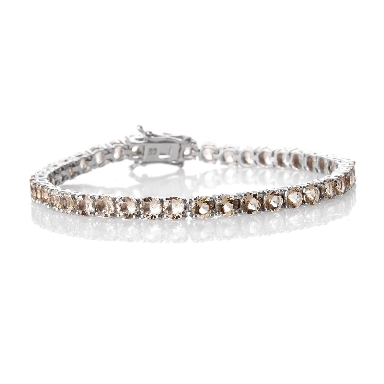 Marialite Platinum Plated Sterling Silver Straight Line Bracelet 6.72 cttw.7.50 In