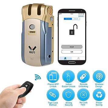 WAFU WF-018U Cerradura Inteligente Inalámbrica Cerradura Invisible Cerradura Control Remoto Desbloqueo de iOS Android App con 4 Control Remotos ...