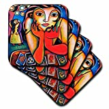 3dRose cst_21203_3 Loteri a Woman Colorful Romance Dance Lottery Party Ceramic Tile Coasters (Set of 4)