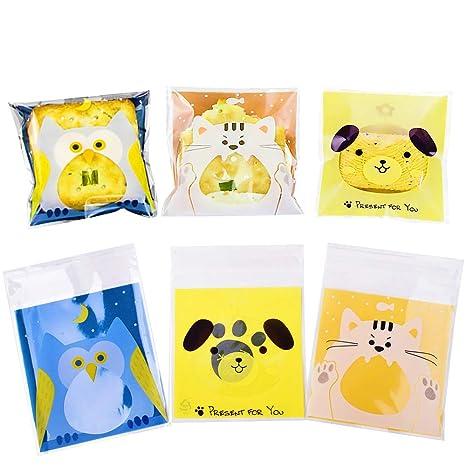300pcs Bolsas para Chuches Búho Perro Gato para Niño Animal Encantador Bolsitas Caramelos Plástico Celofán Autoadhesivas