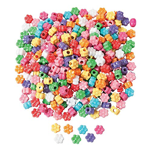 Large Flower Bead - Fun Express - Fabulous Flower Pony Beads 1/2 lb - Craft Supplies - Kids Beading - Plastic Beads - 600 Pieces
