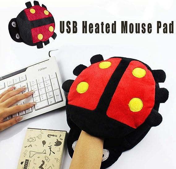 LUORATA USB Heated Hand Warmer Mouse Pad with Wristguard Warm Mouse Mat Winter B, 24X22cm
