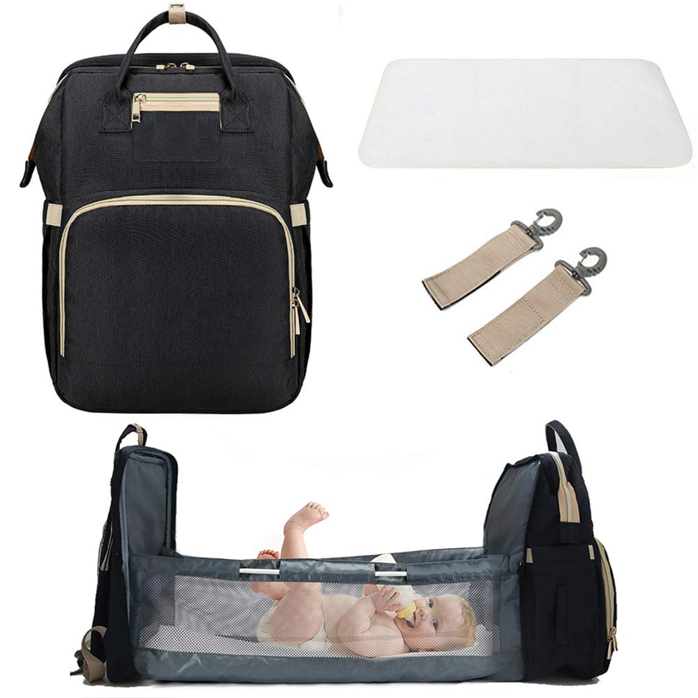 3 in 1 Baby Travel Cot,Portable Travel Foldable Diaper Changing Station Mummy Bag Backpack,Foldable Baby Cot Bed Bassinets for Baby,Travel Crib Infant Sleeper,Baby Nest with Mattress 0-12 Months