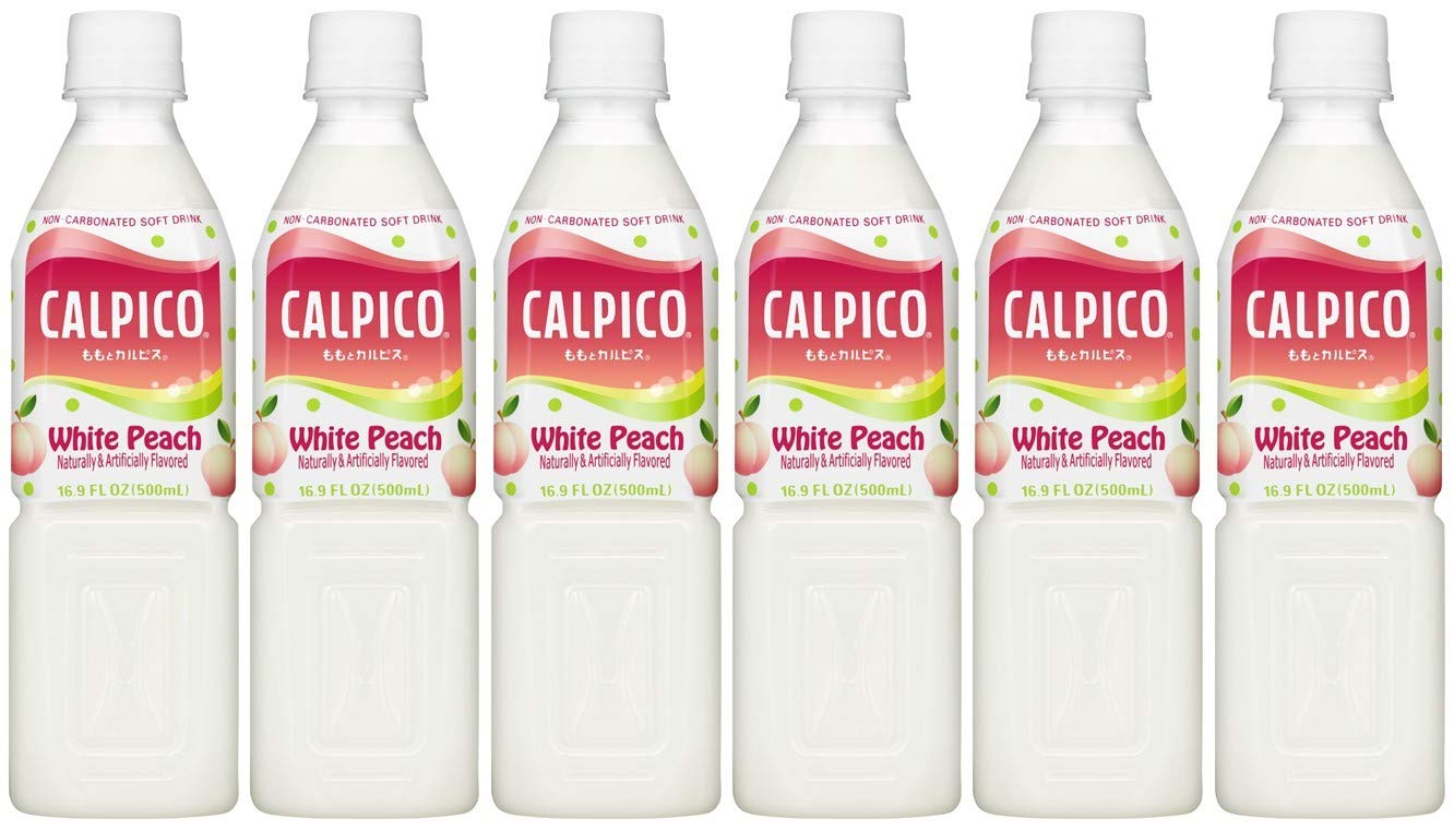 CALPICO White Peach, Non-Carbonated Drink, Japanese Beverage Contains Peach Juice Concentrate, Sweet and Tangy Asian Drink, 16.9 FL oz. (Pack of 6)