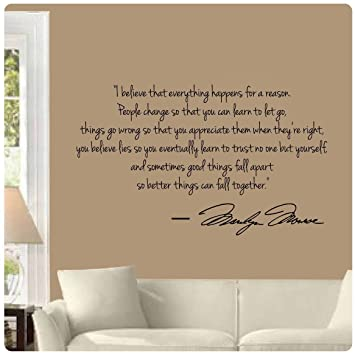 Marilyn Monroe Wall Decal Decor Quote I Believe Things Happen...Large Nice Part 18
