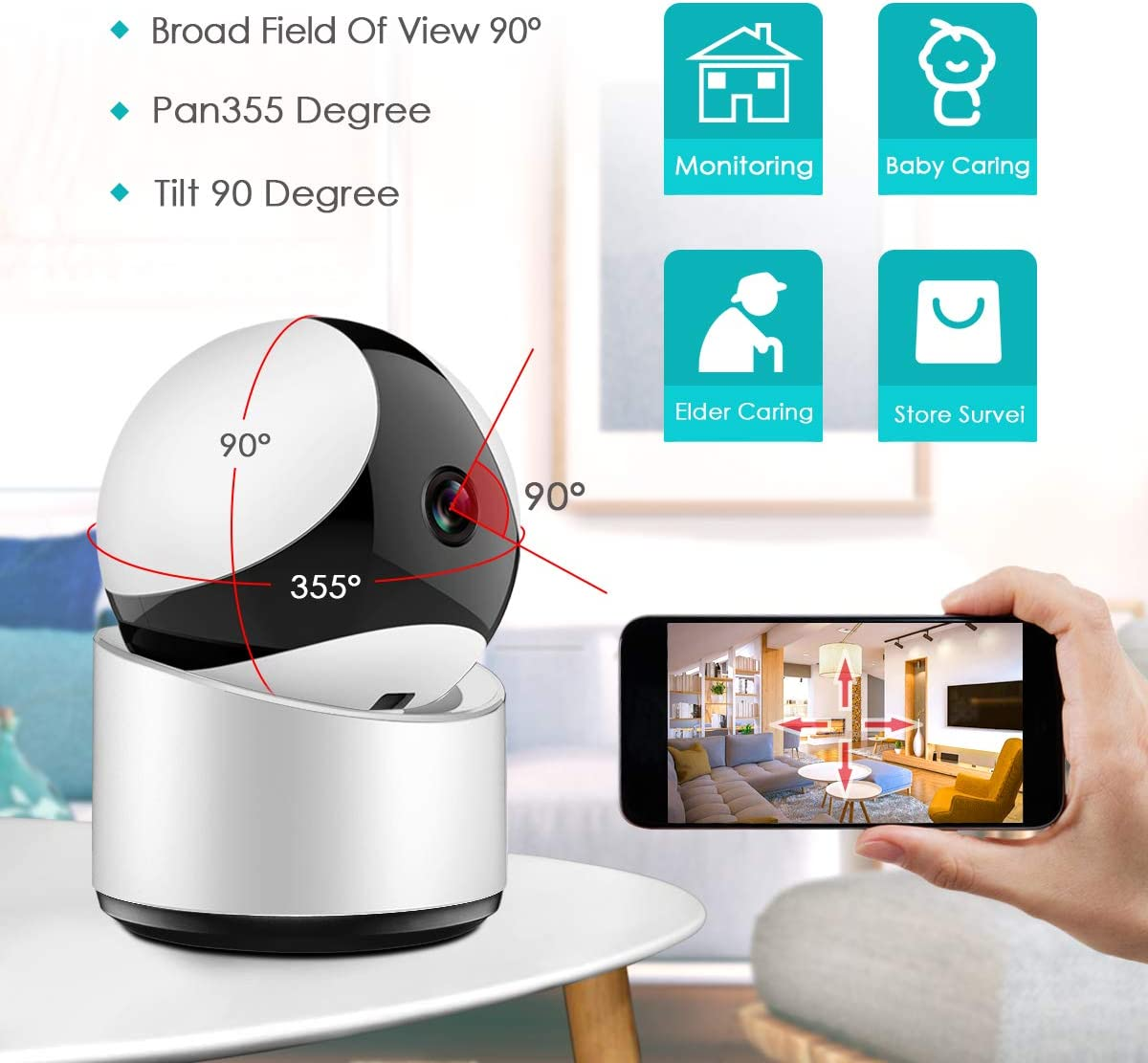 Wireless Security Camera, HD Home Security Surveillance WiFi Camera with Motion Detection, Pan Tilt, Night Vision and Two Way Audio, Baby Pet Monitor and Nanny Cam