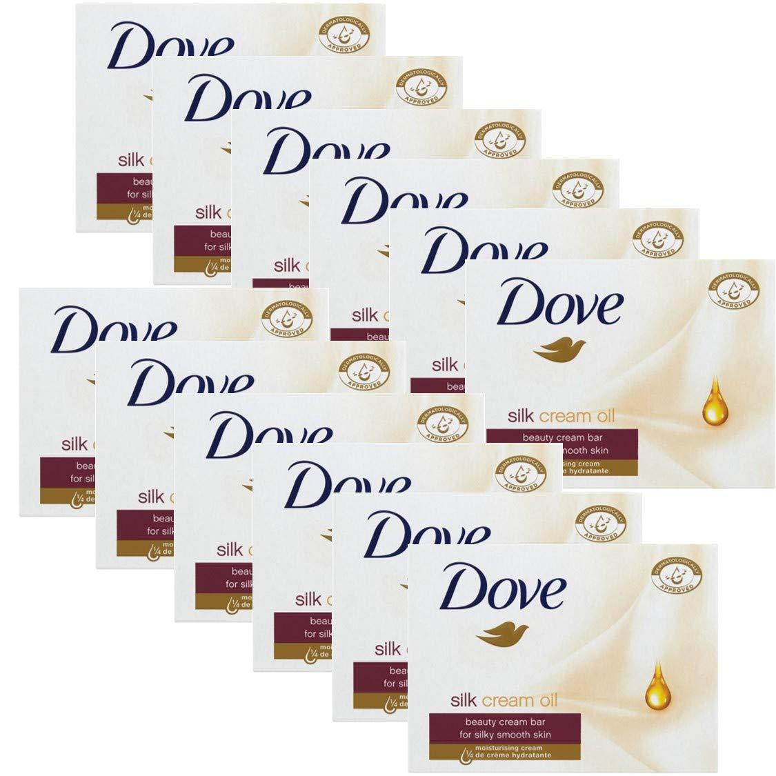 Dove Silk Cream Oil Beauty Cream Bar Soap, 3.5 Oz / 100 Gr (Pack of 12 Bars)