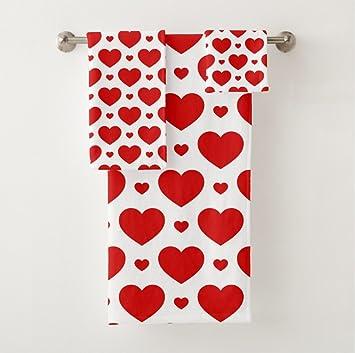 Corazones de San Valentín vunko toalla de baño Set 3 pieza Rojo toalla de baño 30