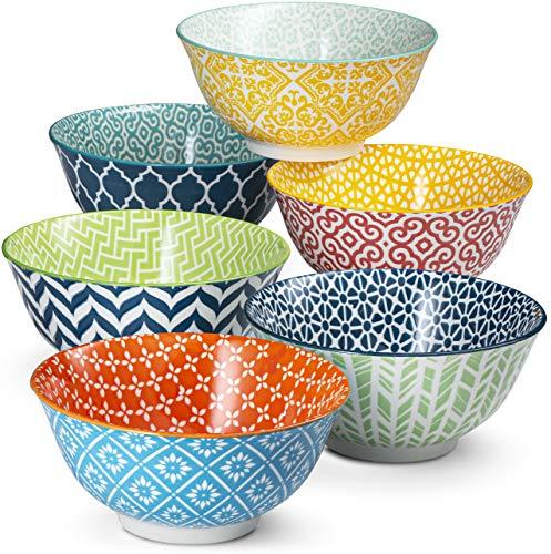Cereal Bowls, by Kook, Ceramic Make, Multi Color Designs, Perfect for Yoghurt, Dessert, Poke, Set of 6