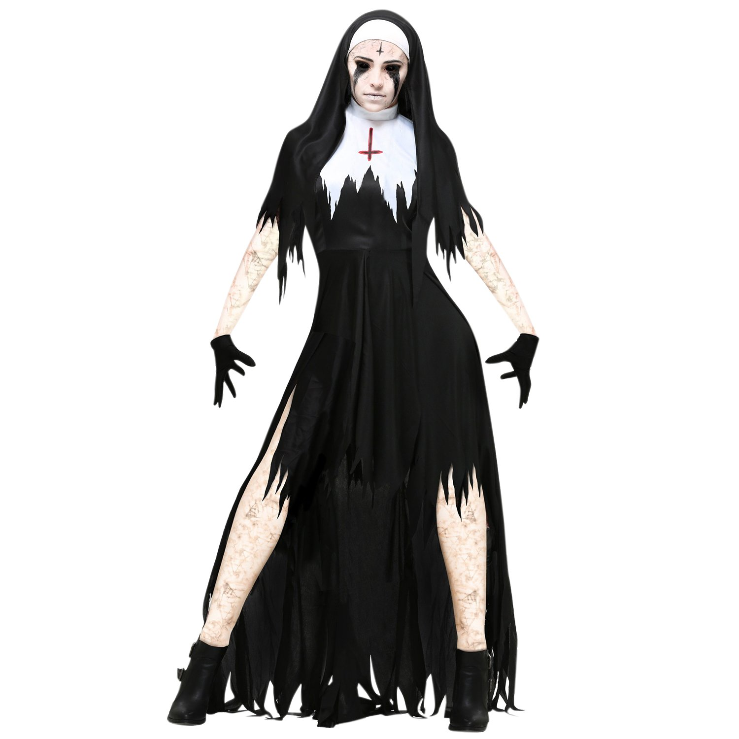 StarTreene Women Halloween Costumes Nun Cosplay Clothing Fancy Cutout Shawl