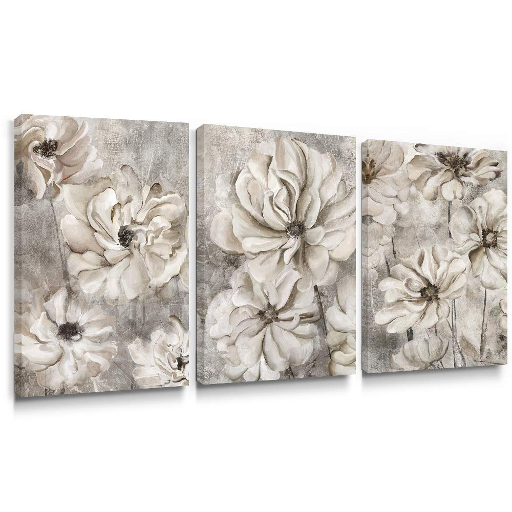 takfot Rustic Wall Art Flower Canvas Paintings Farmhouse Prints Floral Artwork Gardenia Picture Vintage Home Decor Ready to Hang for Living Room Bedroom Bathroom 16×24 inch, 3 Panels