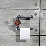 Industrial Vintage Toilet Paper Holder, Steampunk Toilet Paper Dispenser,Urban Retro Wall Mount Iron Pipe Toilet Paper Roll Holder,Commercial Grade Metal, Slide TP Roller, Oil + Rust Free. (Holder 02)
