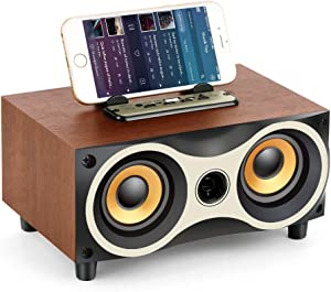 TAMPROAD Desktop Wooden Wireless Bluetooth Portable Speaker with HD Sound and Bass Support Mobile Phone Stand, USB, TF Card, FM Radio, Owl-Shaped Speakers for Camping, Biking, Partying, Travel