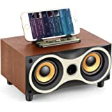 TAMPROAD Desktop Wooden Wireless Bluetooth Portable Speaker with HD Sound and Bass Support Mobile Phone Stand, USB, TF Card,