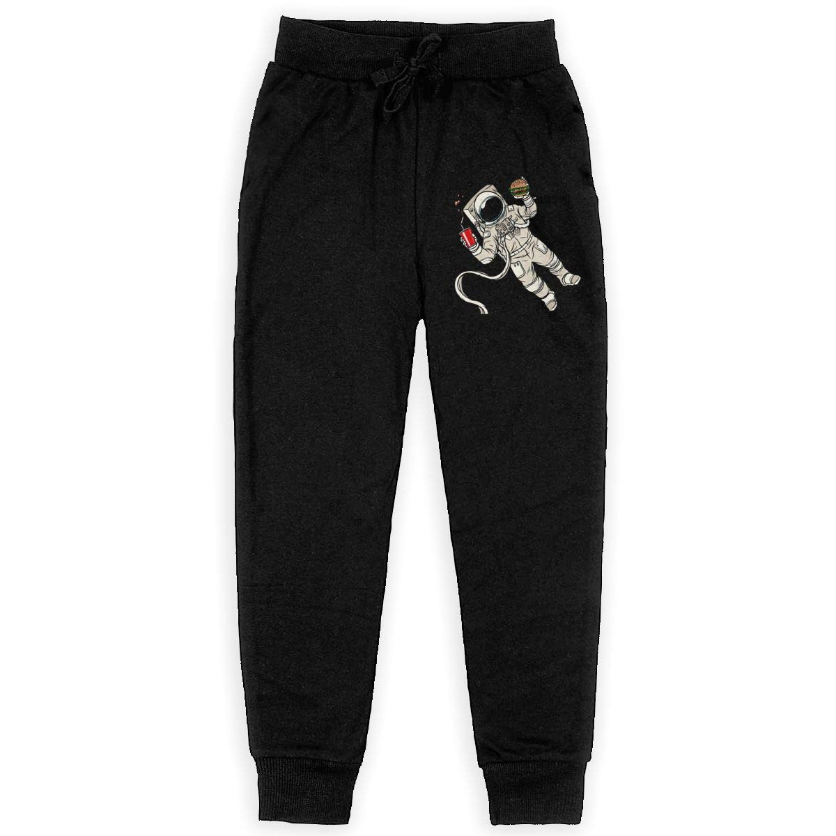 Xinding Youth Casual Training Sweatpants Astronauts Eating Hamburgers Adjustable Waist Trousers with Pocket