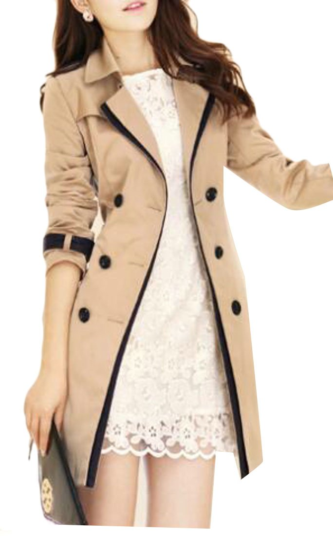Domple Womens British Style Elegant Jacket Double Breasted Slim Long Trench Coat