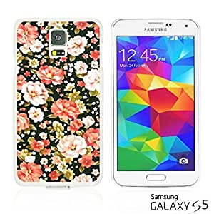 OnlineBestDigitalTM - Flower Pattern Hardback Case for Samsung Galaxy S5 - Pink and White Roses