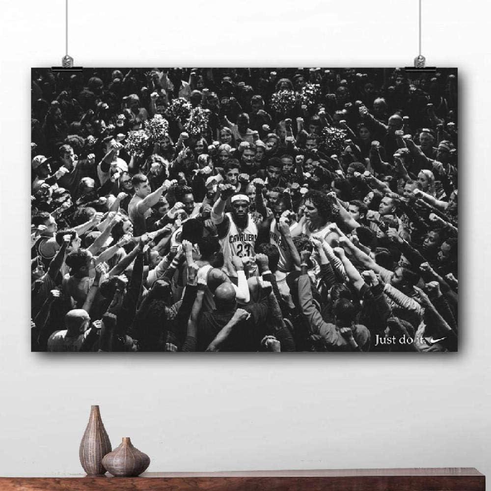WSHIYI King James Basketball Sport Wall Art Painting Lebron Poster publicitario Impresión de Lienzo para la decoración de la habitación del hogar-50x75cm sin Marco