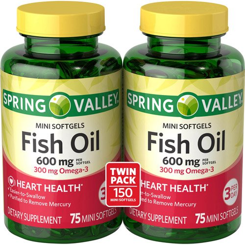 Spring Valley All Natural Fish Oil 600 mg, 300 mg Omega-3, Twin (300 Mg Softgels)