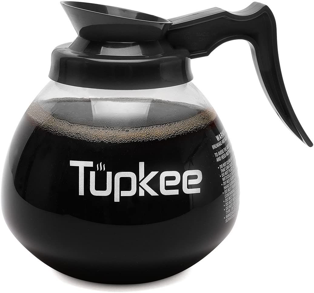 Tupkee Commercial Coffee Pot Replacement Shatter Resistant Restaurant Glass Decanter Carafe 64 Oz 12 Cup Black Handle Regular Compatible With Wilbur Curtis Bloomfield Bunn Coffee Pot Kitchen Dining