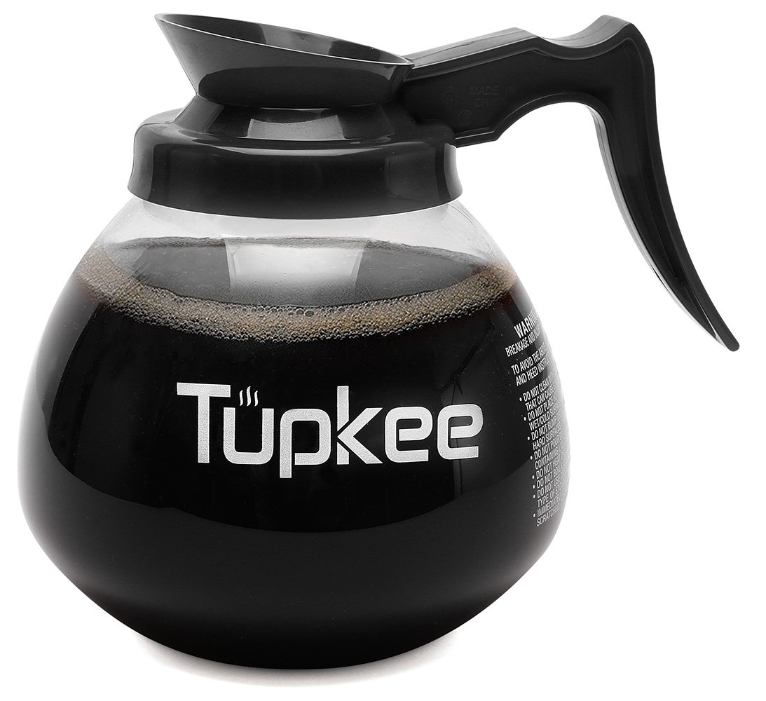 Tupkee Commercial Coffee Pot Replacement - SHATTER-RESISTANT Restaurant Glass Decanter Carafe - 64 oz 12 Cup, Black Handle/Regular, Compatible with Wilbur Curtis, Bloomfield, Bunn Coffee Pot
