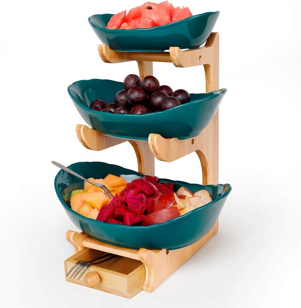 3 Tier Oval Bowl Set,Dark green serving bowls for Party Food Server Display Set,Three Ceramic Fruit Bowl Serving
