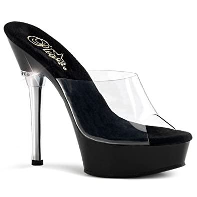Pleaser Allure-601 Sexy Plateau High Heels Sandaletten mit Strass Transparent 35-44