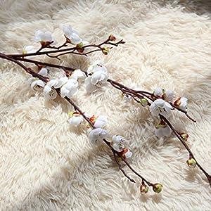 Makaor Artificial Fake Flowers Plum Blossom Floral Wedding Bouquet Home Decor 1 Bouquet Cherry Blossoms (Dimensions:Total Length:94cm, White) 2