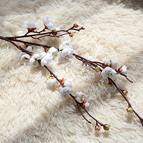 Makaor Artificial Fake Flowers Plum Blossom Floral Wedding Bouquet Home Decor 1 Bouquet Cherry Blossoms (Dimensions:Total Length:94cm, White)