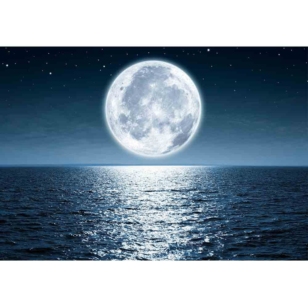 wall26 - Full Moon Rising Over The Ocean Empty at Night with Copy Space - Removable Wall Mural | Self-Adhesive Large Wallpaper - 100x144 inches by wall26 (Image #2)