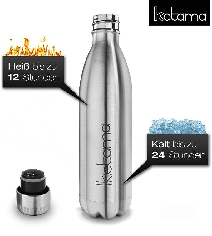 priva di BPA 0,75 l adatta anche ai bambini mantiene le bevande calde per 12 ore e fredde per 24 750 ml sottovuoto e a doppia parete isolata Borraccia termica in acciaio inox color argento