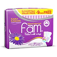 Fam Natural Cotton Feel,Maxi Thick,Folded with wings, Super Sanitary Pads, 51 pads