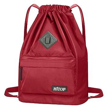 HITOP - Bolsa deportiva de cordón, ligera, unisex; mochila saco, mochila para hombre y mujer., rojo vino: Amazon.es: Deportes y aire libre