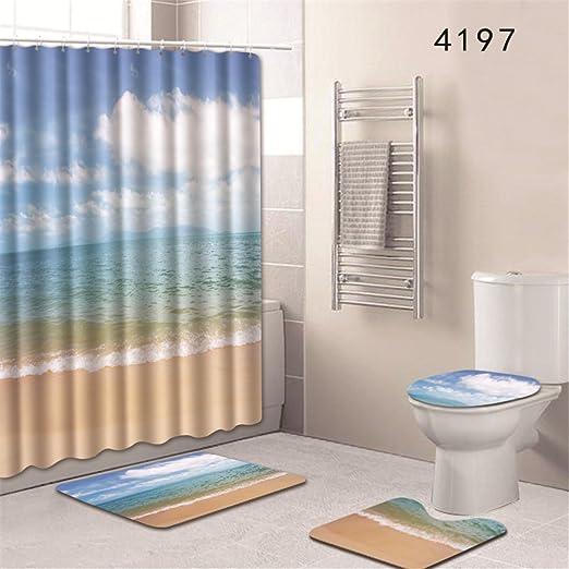 Ocean Beach Shower Curtain Complete Bathroom Set Waterproof Fabric with Bathmat