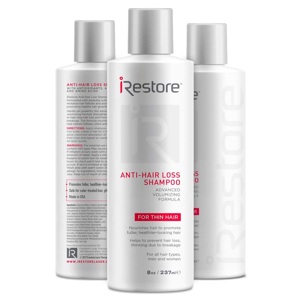 iRestore Hair Growth Shampoo with Amino Acids, Aloe Vera, Green Tea Extract, and Other Essential Nutrients - For Balding & Thinning Hair - For Men and Women (8oz/237ml) - 3 Pack by iRestore