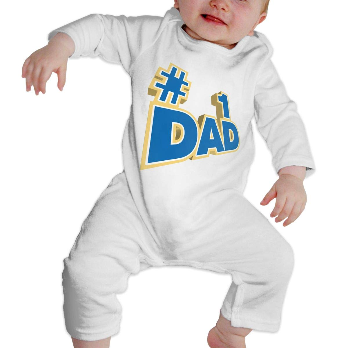 CharmKAT Baby Boy Girl Round Neck Long-Sleeve Solid Color Climbing Clothes #1 Dad Jumpsuits Sleepwear