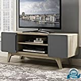 Retro TV Stand Media Console Organizer with Open Display Shelves & Hinged Doors Entertainment Center 52'' Flat Screen Cabinet Rounded Silhouette Minimal Media Storage Home Furniture eBook by BADA shop