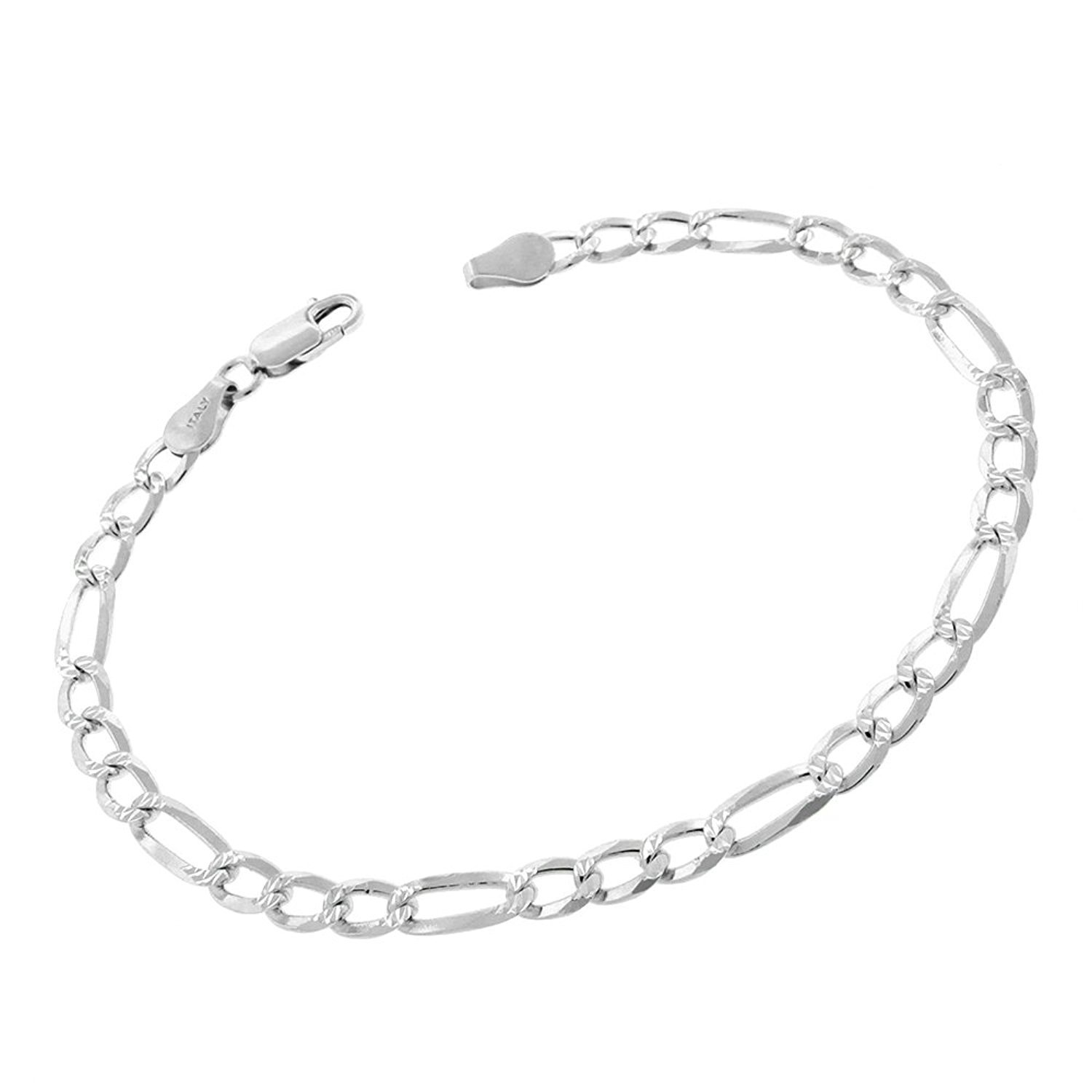 Sterling Silver Italian 5mm Figaro Link Diamond-Cut Pave ITProLux Solid 925 Bracelet Chain 8.5''