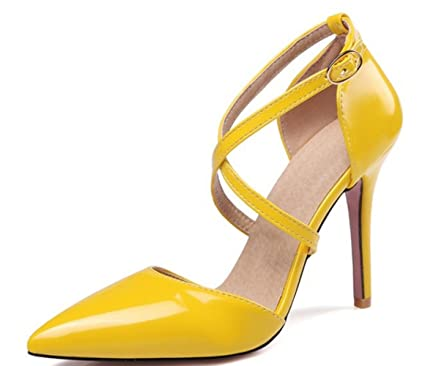 e9f256ef8 CSDM WOMEN Large Size Stiletto Heel Pointed toe Wedding Shoes Bridal Shoes  High Heels Sandalss Yellow