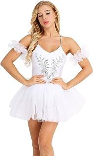 Tiaobug Ballettkleid Damen Ballett Trikot Ballettanzug ärmellos Tanzkleid weiß Ballett Kleider Ballettrock