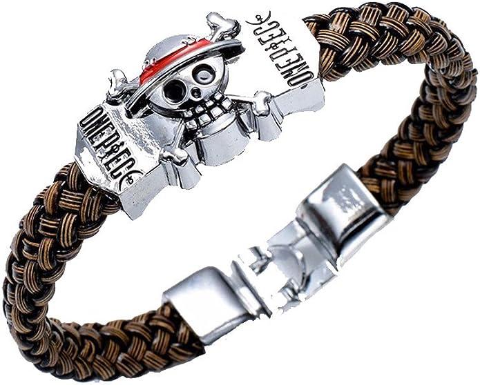 Anime One Piece Trafalgar Law Logo Metal Chain Charm Bangle Bracelet Wristband
