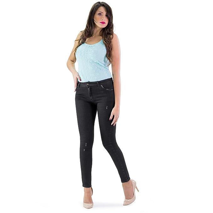MAMAJEANS Jeans Donna Taglio Skinny, Linea Basic, Vita Medio