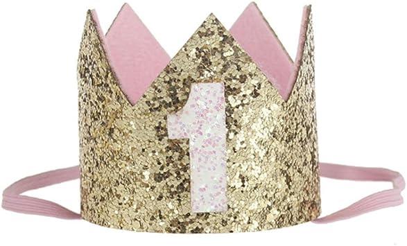 Image ofKicode cumpleaños Corona Banda para el Cabello Bebé Resplandecer Accesorio para el Cabello Headwear Regalo Color Dorado