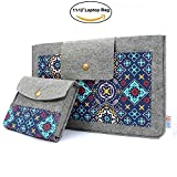 Te-Rich Filz Laptophülle Blumen Boheme Laptoptasche Canvas Umschlag Notebooktasche Sleeve 2 in 1 Laptop Schutzhülle für 11-12 Zoll Netbook / Laptop / Notebook Computer / MacBook / MacBook Air ( Schnallenverschluss )