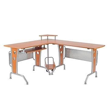 Computertisch holz  Homcom A2-0076 Computertisch, Holz, braun, 170 x 140 x 86,5 cm ...