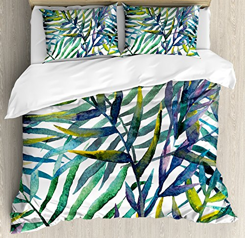 Ambesonne Leaf Duvet Cover Set Queen Size, Watercolor Artwork Tropical Island Vegetation Colorful Palm Leaves, Decorative 3 Piece Bedding Set 2 Pillow Shams, Green Purple