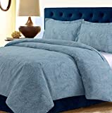 TRIBECA LIVING PAS120DUVETTWBL Madrid Paisley Printed Oversized Duvet Cover Set, Twin Blue-Multi