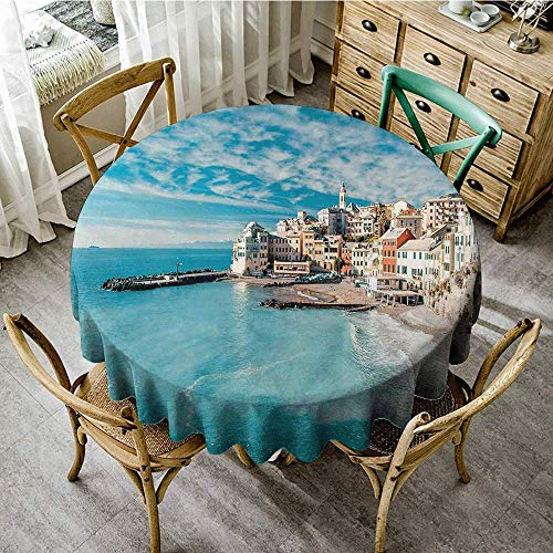 (DONEECKL Polyester Tablecloth Italy Panorama of Old Italian Fishing Village Beach in Old Province Coastal Charm Image for Kitchen Dinning Tabletop Decoration D55 Turquoise)