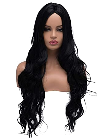 Amazon.com   BESTUNG Long Curly Wavy Halloween Cosplay Wigs for Women Ladies  Synthetic Full Hair Natural Daily Wear Black Brunette Wig with Middle  Parting ... 58bb64bea