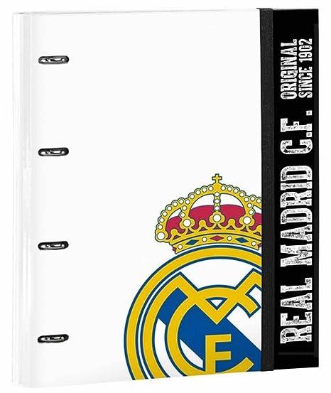 Safta SF-511754-666 - Carpeta 4 anillas 30mm con recambio, diseño Real Madrid: Amazon.es: Oficina y papelería